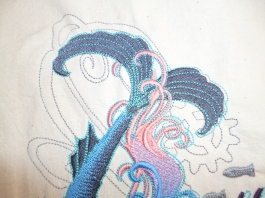 Mermaids tail detail for a cushion cover