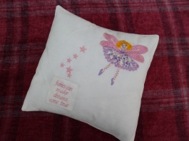 Blonde Applique Fairy with purple dress